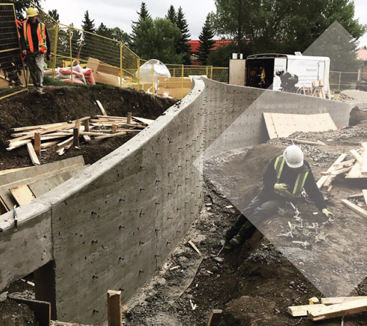 Concrete wall being built at GPRC